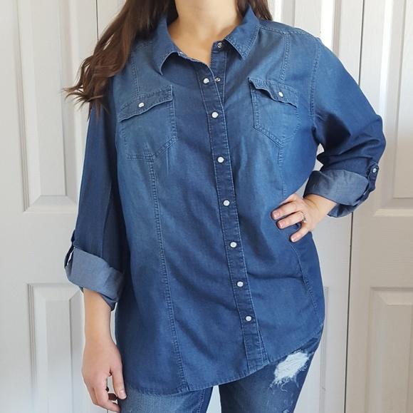 0f68660c69 Lane Bryant Tops - Plus Size 24W Snap Button Denim Lyocell Shirt Top